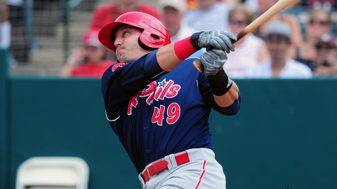 Jake Fox's two-run homer helped Reading earn the EL's final playoff spot.